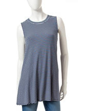 Signature Studio Navy & White Striped Top