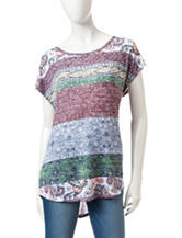 Signature Studio Multicolor Paisley Striped Print Top