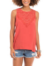 Eyeshadow Coral Crochet Woven Top