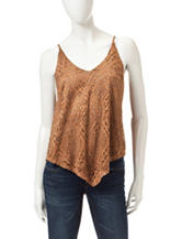 Heart Soul Faux Suede Laser Cut Tank Top