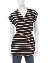 Justify Black & White Striped Top