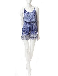 Justify Tie-Dye Embroidered Romper