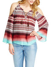 Jessica Simpson Shayna Cold-Shoulder Tribal Print Top