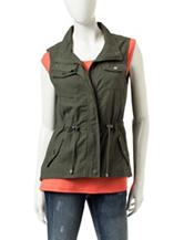 Ashley Olive Tie Waist Anorak Vest
