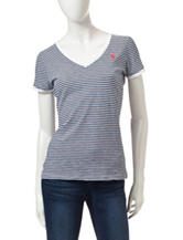U.S. Polo Assn. Navy & White Striped Print Top