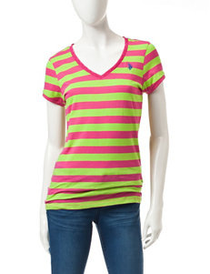 U.S. Polo Assn. Pink & Green Striped Top