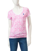 U.S. Polo Assn. Pink & White Pineapple Print Top