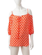 Wishful Park White & Orange Chevron Print Top