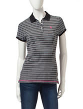 U.S. Polo Assn. Black & White Striped Print Polo Top