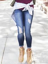 YMI Distressed Medium Wash Skinny Ankle Jeans
