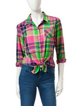 U.S. Polo Assn. Plaid Print Woven Top
