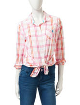 U.S. Polo Assn. Plaid Print Pocket Top