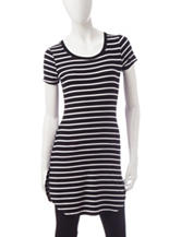 Wishful Park Kylie Black & White Striped Tunic Top