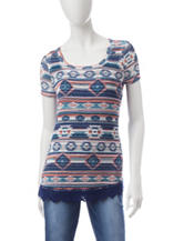 Signature Studio Aztec Print Lace Trim Top