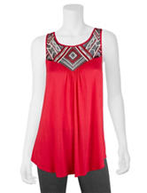 A. Byer Red Tribal Embroidered Top