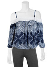 A. Byer Scarf Print Cold-Shoulder Top