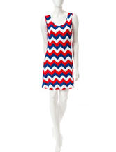 Liberty Love Americana Chevron Print Dress