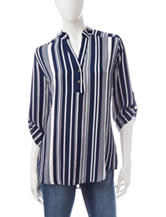 Wishful Park Navy & White Vertical Striped Top