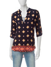 Wishful Park Multicolor Aztec Print Chiffon Top