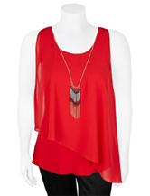 A. Byer Juniors-plus Asymmetrical Knit-to-Woven Top