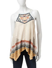 Jolt Aztec Embroidered Neck Halter Top