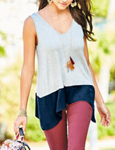 Self Esteem Faux Suede Color Block Top