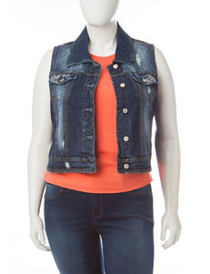 Amethyst Juniors-plus Medium Wash Denim Vest
