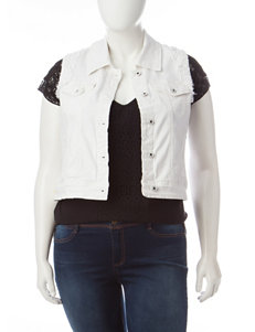 Amethyst Juniors-plus White Wash Denim Vest