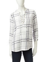 Self Esteem Black & White Plaid Knit Top