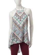 Heart Soul Tribal Print Hi-Lo Top