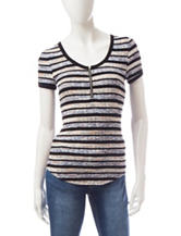 Almost Famous Striped Zipper Top
