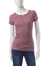 Wishful Park Burgundy & Grey Chevron Print Top