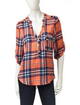 Wishful Park Zipper Plaid Print Top