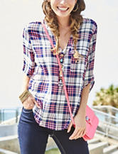 Wishful Park Plaid Print Chiffon Top