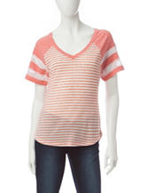 Self Esteem Striped Football Raglan Top