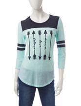 Almost Famous Jersey Striped Arrow Top