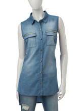 My Michelle Chambray Woven Zipper Top