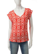 My Michelle Medallion Print Zipper Top