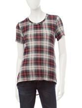 Signature Studio Plaid Print Hi-Lo Top