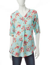 Wishful Park Double Zip Floral Print Top