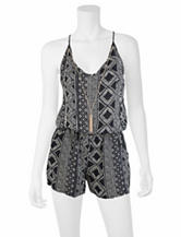 A. Byer Black & White Tribal Print Romper