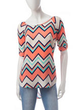 Wishful Park Chevron Print Hi-Lo Top