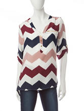 Wishful Park Chevron Print Chiffon Top