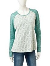 Miss Chevious Hacci Knit Lace Front Top