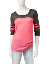 Almost Famous Football Striped Raglan Top