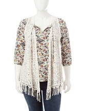 Self Esteem Juniors-plus Floral Print Layered-Look Top