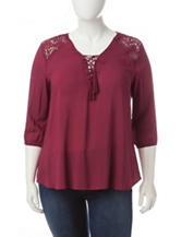 Self Esteem Juniors-plus Magenta Peasant Top