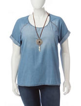Self Esteem Juniors-plus Chambray Woven Top