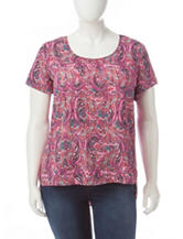 Self Esteem Juniors-plus Paisley Print Top