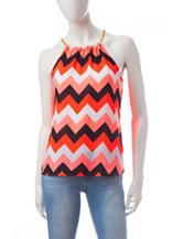 Wishful Park Chevron Print Split Back Top
